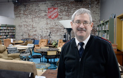 Major Dan Wilson smiles inside of the Salvation Army Thrift Store in Chico, Calif. Tues. March 28, 2017. (Bill Husa -- Enterprise-Record)