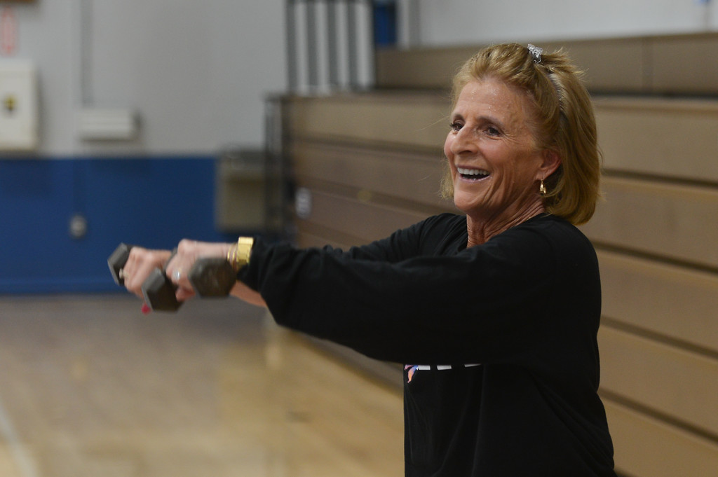 . Eileen Mason is the final inductee for the Chico Sports Hall of Fame. She teaches a total body fitness class at Orland High., April 27, 2018,  in Orland, California. (Carin Dorghalli -- Enterprise-Record)