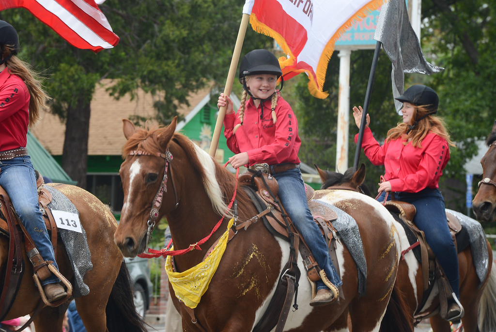 . Horse riders walk down the Skyway during the Gold Nugget Days parade, April 28, 2018,  in Paradise, California. (Carin Dorghalli -- Enterprise-Record)