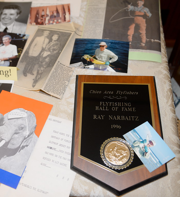 . Chico Sports Hall of Fame Inductee Ray Narbaitz smiles with some of his memorabilio at his Chico, Calif. home Friday April 20, 2018. (Bill Husa -- Enterprise-Record)