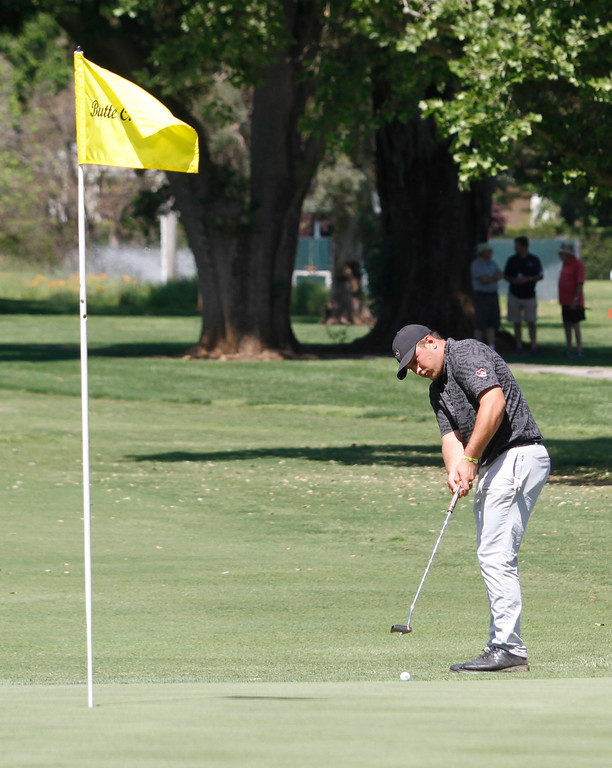 . Serge Kiriluk putts from the fringe on the 16th hole as the Chico State mens golf team faces Cal State Monterey Bay in match play Wednesday, April 25, 2018, for the California Collegiate Athletic Association championship at the Butte Creek Country Club in Chico, California. (Dan Reidel -- Enterprise-Record)