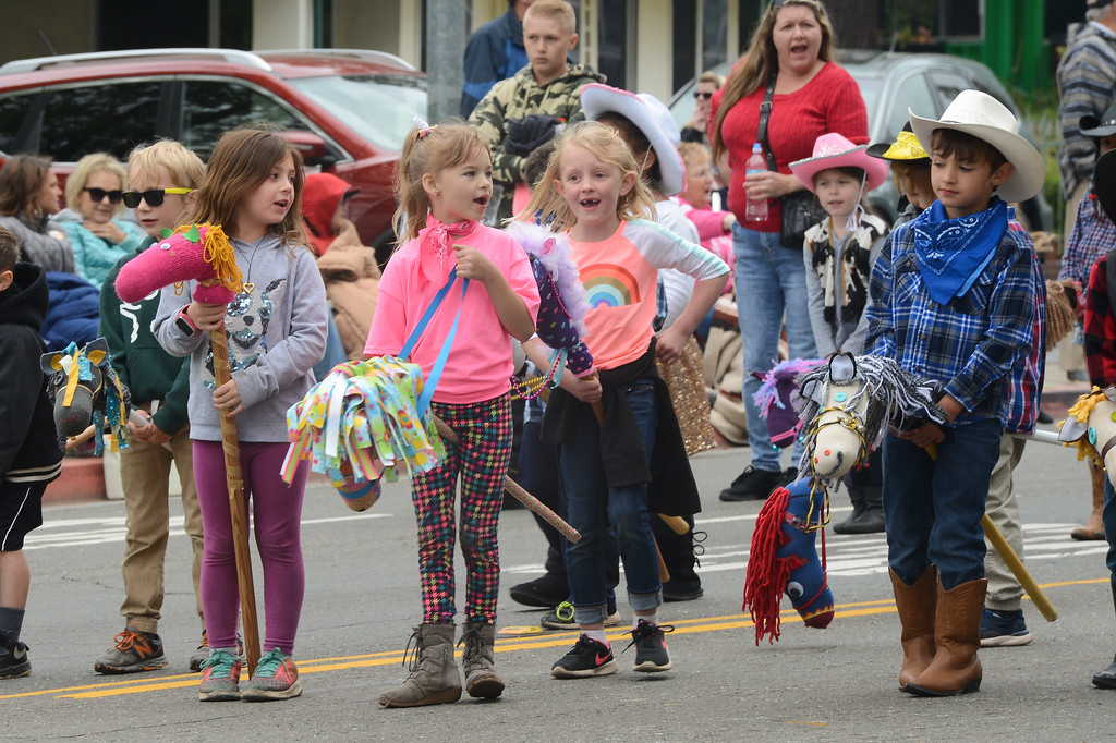 . Kids walk down the Skyway dresses as cowboys and cowgirls during the Gold Nugget Days parade, April 28, 2018,  in Paradise, California. (Carin Dorghalli -- Enterprise-Record)