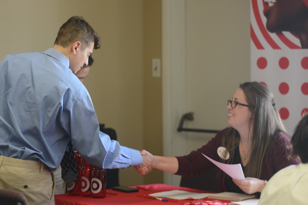 . Fair View High students meet with local employers for the school\'s annual job fair. Micco Mattice shakes hands Ayla Fleming as he puts his interview and resume skills to the test, April 26, 2018,  in Chico, California. (Carin Dorghalli -- Enterprise-Record)