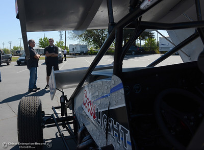 Radio host Mike Wessels, left, chats with driver Mason Moore during a Silver Dollar Speedway luncheon Thursday, March 31, 2016, to preview the race season in Chico, California. (Dan Reidel -- Enterprise-Record)