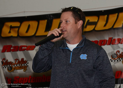 Silver Dollar Speedway CEO Troy Hennig speaks during a luncheon Thursday, March 31, 2016, to preview the race season in Chico, California. (Dan Reidel -- Enterprise-Record)