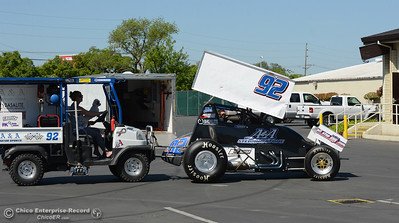 Andy Forsberg has his Sprint car pushed into the parking lot at the Silver Dollar Fairway for a Speedway luncheon Thursday, March 31, 2016, to preview the race season in Chico, California. (Dan Reidel -- Enterprise-Record)