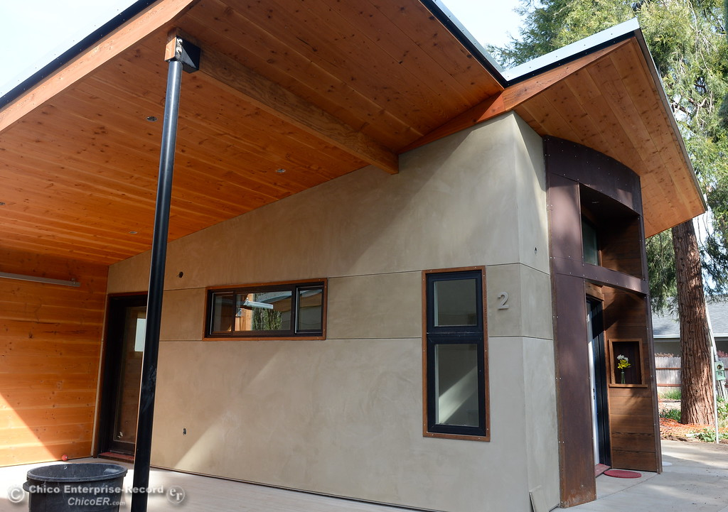 . Three small houses are being built along Humboldt Road in Chico, Calif. Tues. April 3, 2018. Inside of the 576-square-foot houses being built by Laurie Norton Owner/Builder are high ceilings and a walnut countertop.  (Bill Husa -- Enterprise-Record)