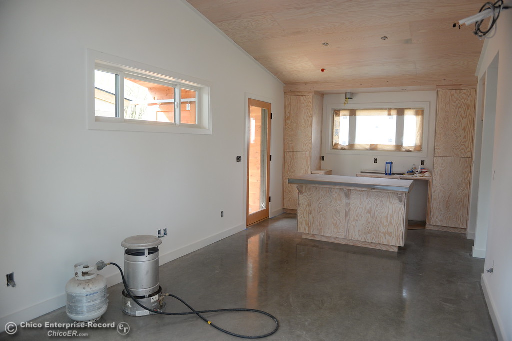 . High ceilings, polished concrete floor and a walnut countertop are some of the features of three small houses being built by Laurie Norton Owner/Builder along Humboldt Road in Chico, Calif. Tues. April 3, 2018. (Bill Husa -- Enterprise-Record)