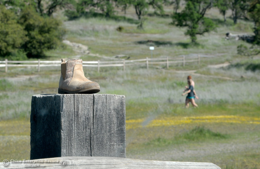 . A lost tiny boot sits on top of a fencepost at the Horseshoe Lake parking lot in Upper Bidwell Park in Chico, Calif. Monday April 2, 2018. (Bill Husa -- Enterprise-Record)