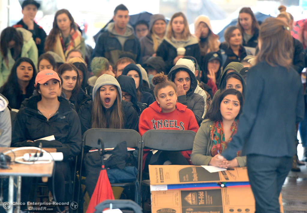 . The speaker tent is full of students during the CSUC Great Debate at City Plaza in downtown Chico, Calif. Friday, April 6, 2018. (Bill Husa -- Enterprise-Record)