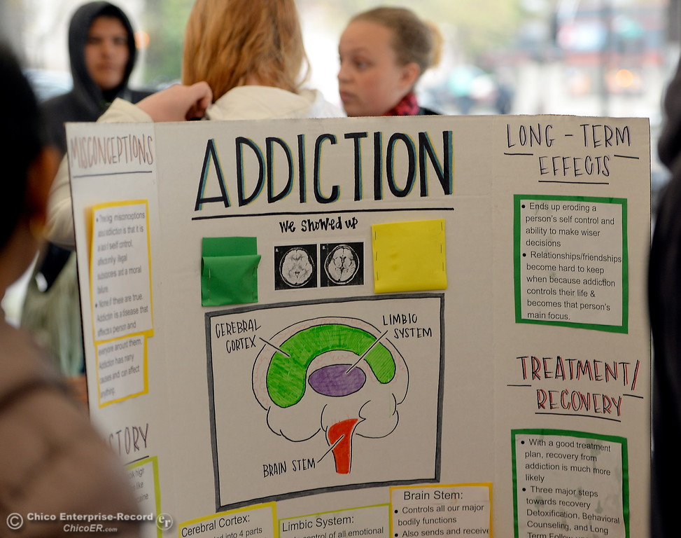 . A display shows information about addiction seen during the CSUC Great Debate at City Plaza in downtown Chico, Calif. Friday, April 6, 2018. (Bill Husa -- Enterprise-Record)