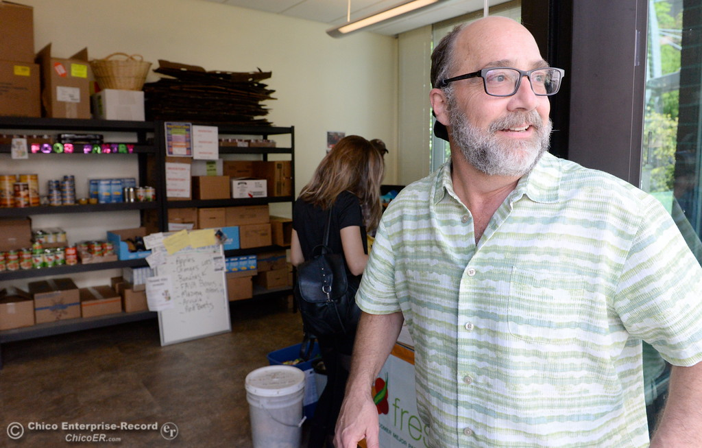 . Basic Needs Administrator Joe Picard welcomes students to the the Hungry Wildcat Food Pantry located at the Student Services Center room 196 on the CSUC campus Tuesday May 8, 2018. (Bill Husa -- Enterprise-Record)