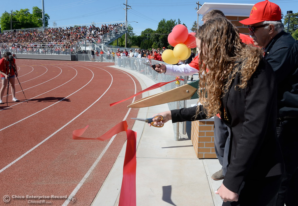 . A red ribbon is cut signifying completion of the new Chico High School stadium Friday May 11, 2018.  (Bill Husa -- Enterprise-Record)