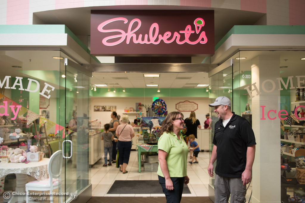 . Owners of Shubert\'s Kasey Pulliam-Reynolds and her brother Nathan Pulliam stand happily in front of their second store, May 11, 2018,  in Chico, California. (Carin Dorghalli -- Enterprise-Record)