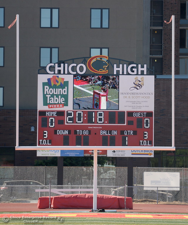 . A new scoreboard is seen during a celebration of the new Chico High School stadium Friday May 11, 2018.  (Bill Husa -- Enterprise-Record)