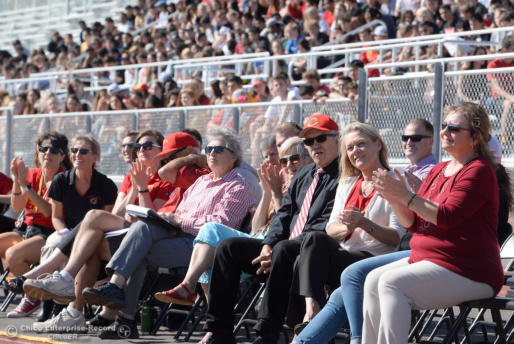 . The Chico High student body and CUSD officials applaud after the unvieling of a new Panther statue during a celebration of the new Chico High School stadium Friday May 11, 2018.  (Bill Husa -- Enterprise-Record)