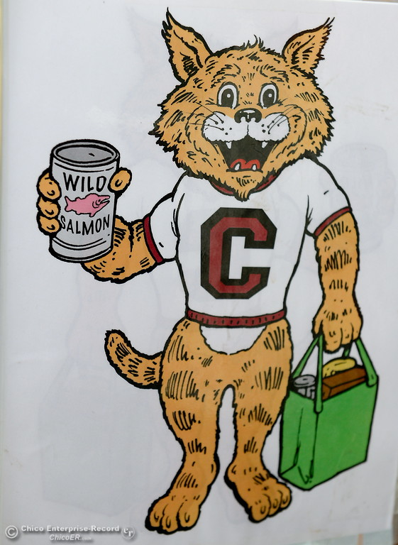 . A Wilcat Logo with a can of Wild Salmon is seen at the Hungry Wildcat Food Pantry located at the Student Services Center room 196 on the CSUC campus Tuesday May 8, 2018. (Bill Husa -- Enterprise-Record)