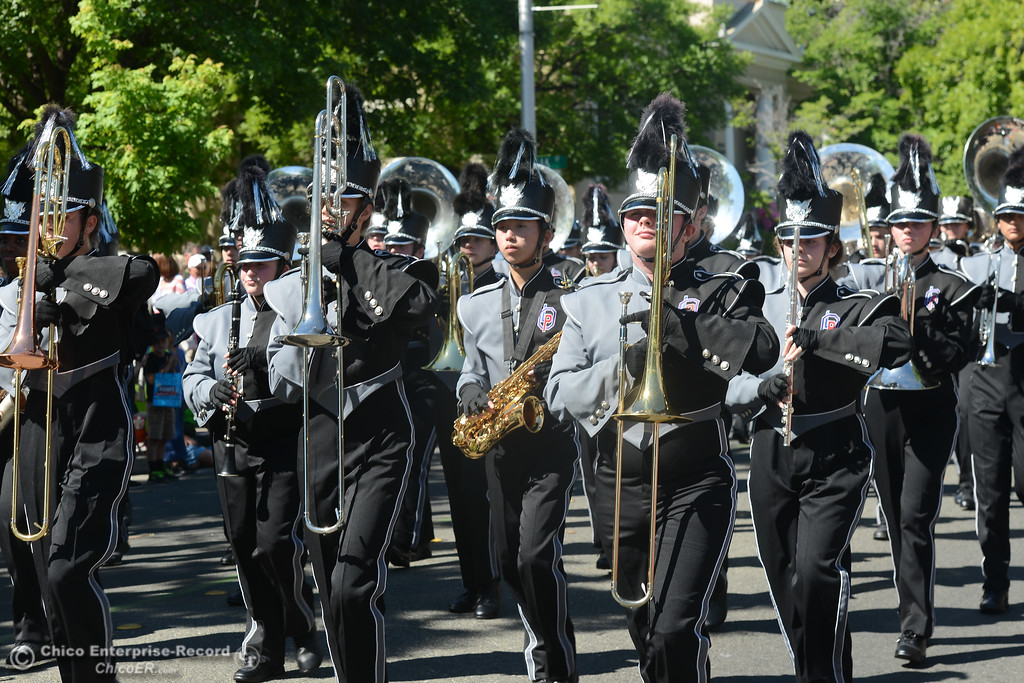 . The Las Plumas Oroville Alliance Band performs during the Fiesta Days Parade, May 12, 2018,  in Chico, California. (Carin Dorghalli -- Enterprise-Record)