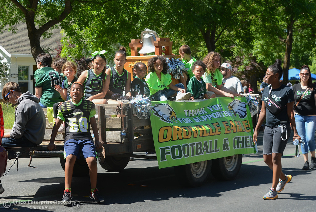 . Oroville Eagles Football & Cheer float down the streets of Oroville during the Fiesta Day Parade, May 12, 2018,  in Chico, California. (Carin Dorghalli -- Enterprise-Record)