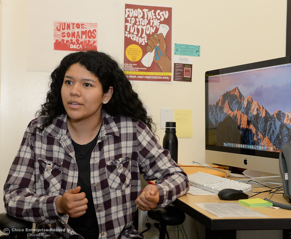 . Cal Fresh Outreach Intern Kennedy Valadez talks about some of the services available to students at the Hungry Wildcat Food Pantry located at the Student Services Center room 196 on the CSUC campus Tuesday May 8, 2018. (Bill Husa -- Enterprise-Record)