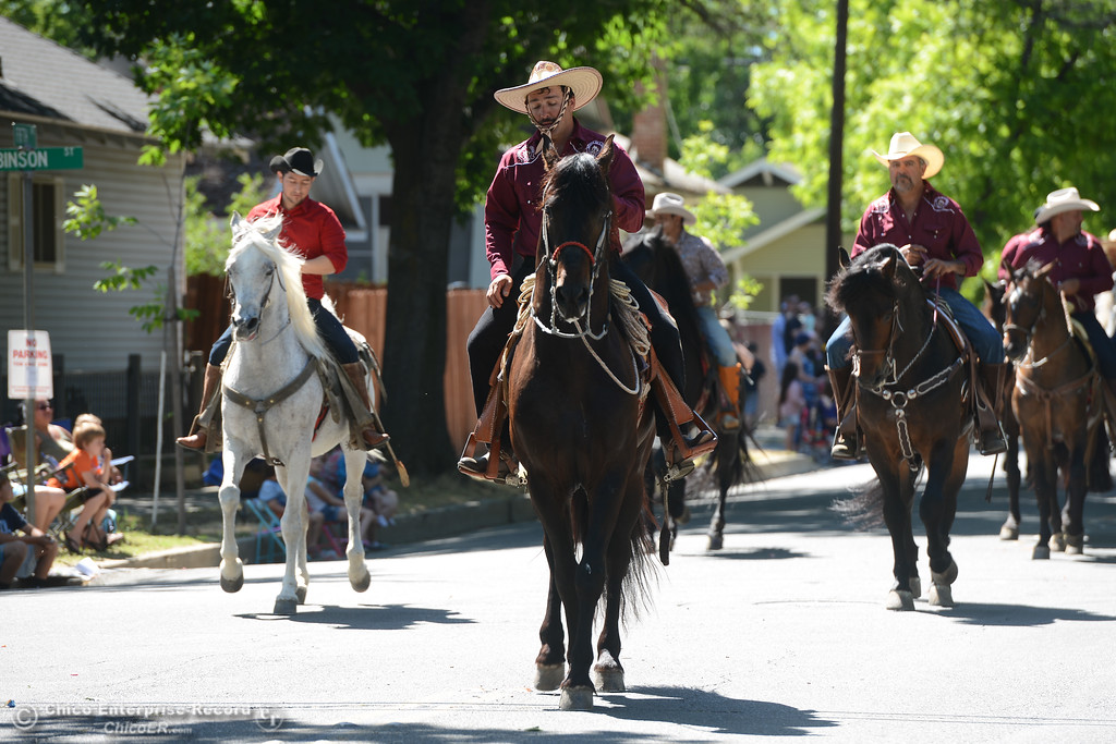 . Horse riders make their way down the streets of Oroville during the Fiesta Days Parade, May 12, 2018,  in Chico, California. (Carin Dorghalli -- Enterprise-Record)