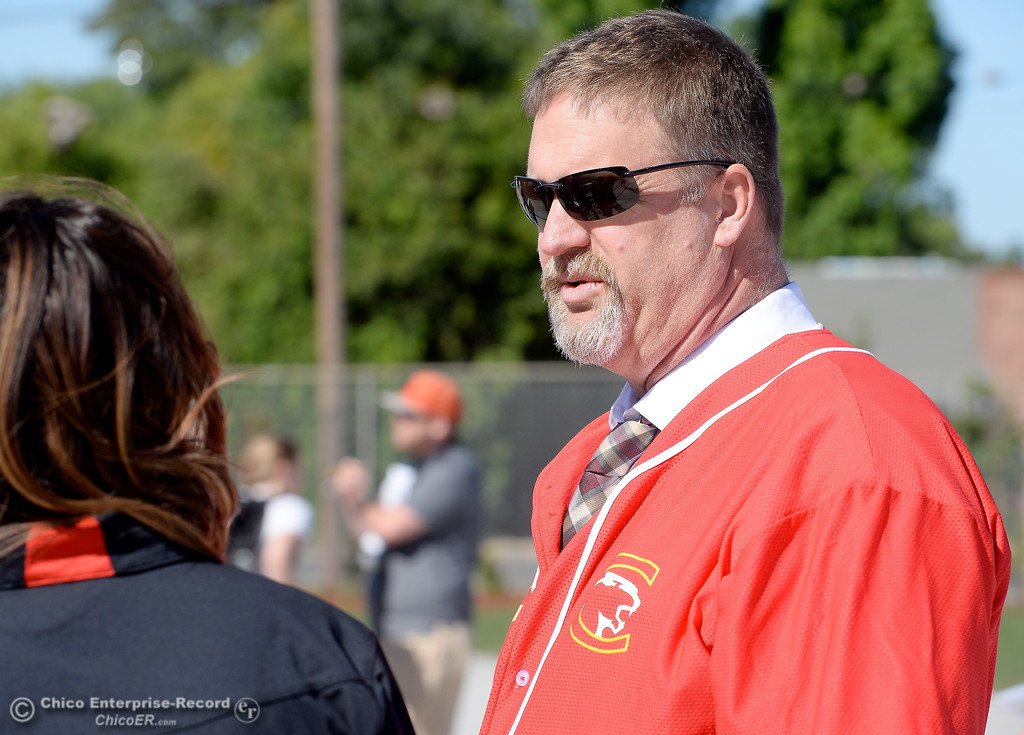 . Chico High Principal Mark Beebe during a celebration of the new Chico High School stadium Friday May 11, 2018.  (Bill Husa -- Enterprise-Record)