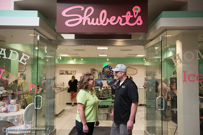 Owners of Shubert's Kasey Pulliam-Reynolds and her brother Nathan Pulliam stand happily in front of their second store, May 11, 2018,  in Chico, California. (Carin Dorghalli -- Enterprise-Record)