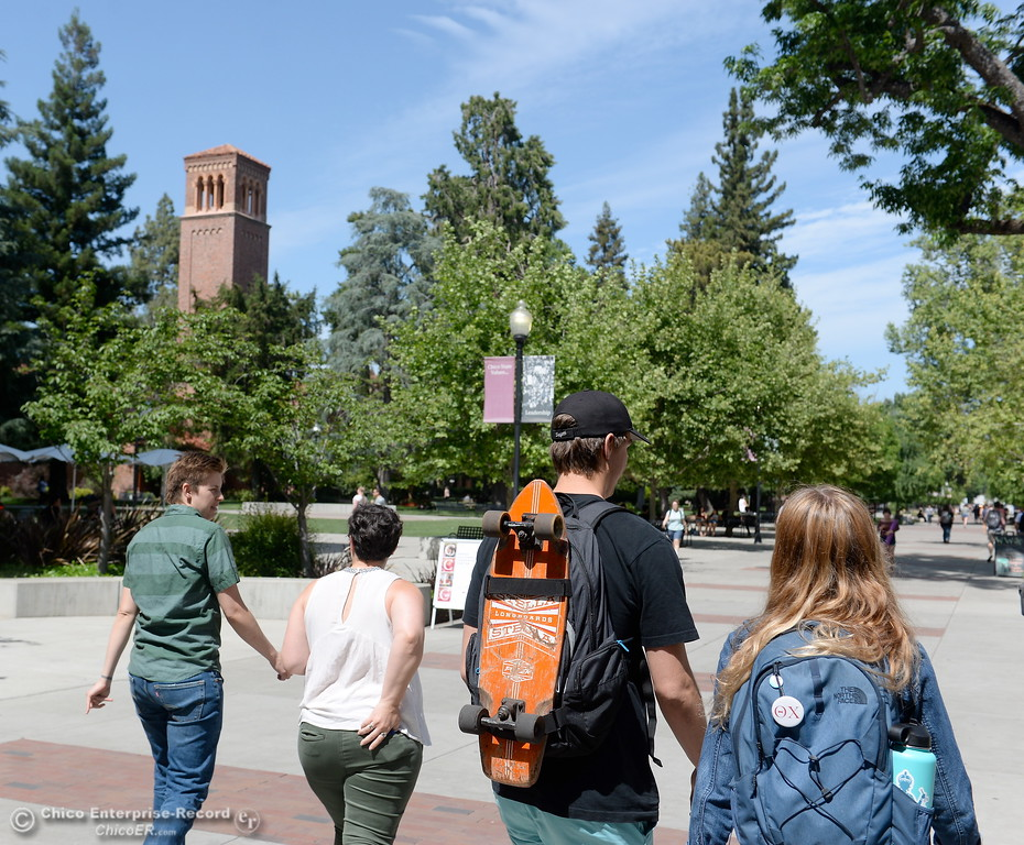 . Students roam the CSUC campus Tuesday May 8, 2018. (Bill Husa -- Enterprise-Record)