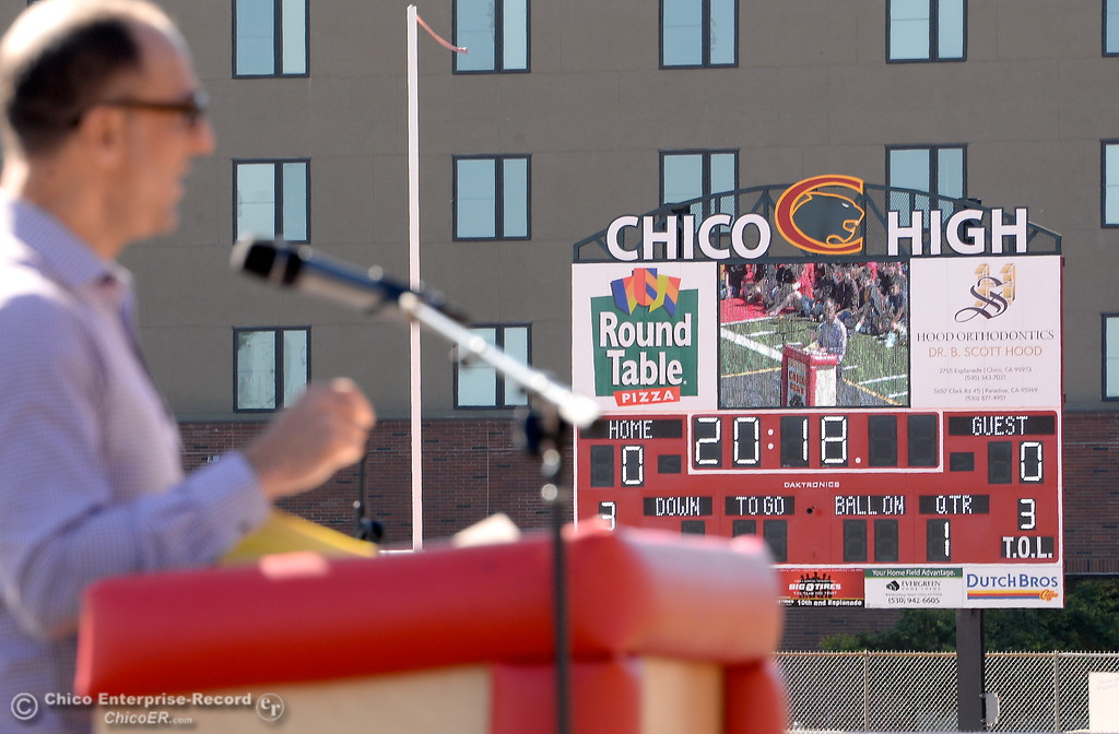 . Assistant Superintendant of Business Services Kevin Bultema speaks during a celebration of the new Chico High School stadium Friday May 11, 2018.  (Bill Husa -- Enterprise-Record)