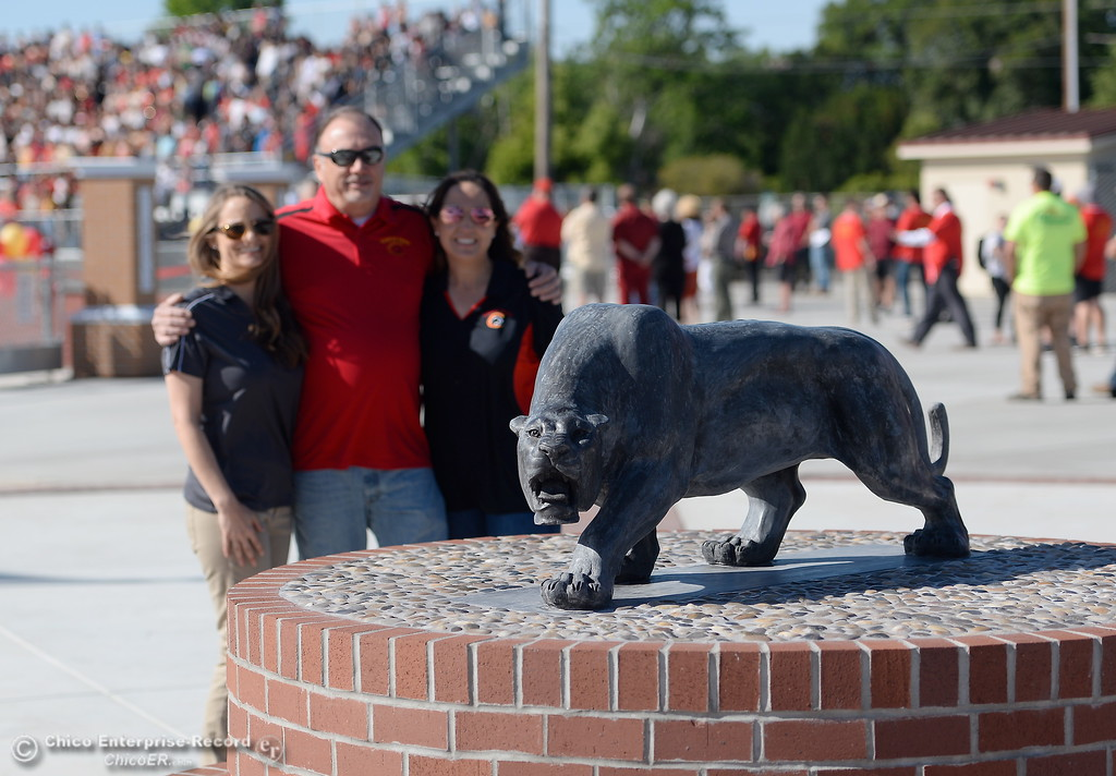 . Shortly after the unvieling of the new Panther statue people begin taking photos with it during a celebration of the new Chico High School stadium Friday May 11, 2018.  (Bill Husa -- Enterprise-Record)