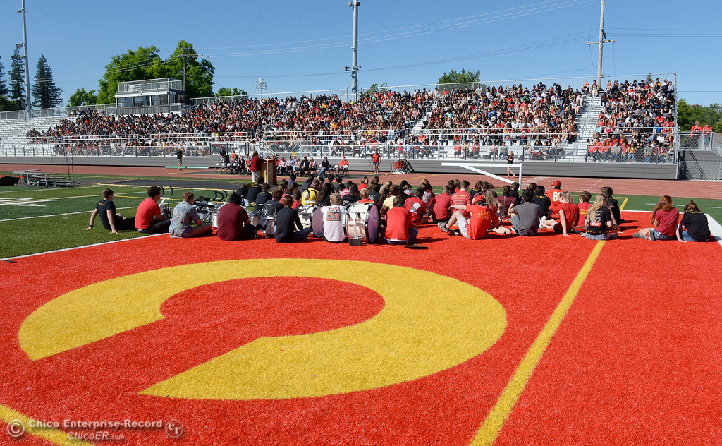 . The football field and home team stands are seen during a celebration of the new Chico High School stadium Friday May 11, 2018.  (Bill Husa -- Enterprise-Record)