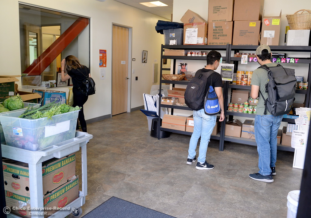 . A steady flow of students are seen coming in for fresh fool at the Hungry Wildcat Food Pantry located at the Student Services Center room 196 on the CSUC campus Tuesday May 8, 2018. (Bill Husa -- Enterprise-Record)