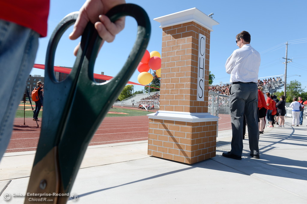 . Giant fake scissors wait for the ribbon cutting part of the ceremony during a celebration of the new Chico High School stadium Friday May 11, 2018.  (Bill Husa -- Enterprise-Record)