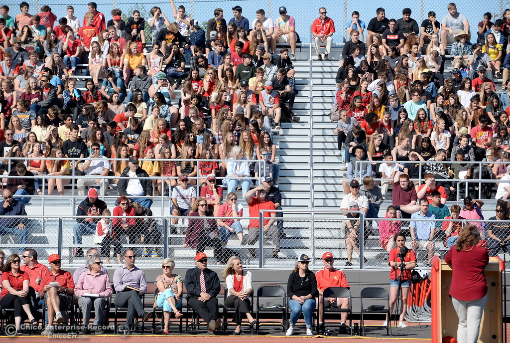 . CUSD VIP\'s sit in front of the student body during a celebration of the new Chico High School stadium Friday May 11, 2018.  (Bill Husa -- Enterprise-Record)