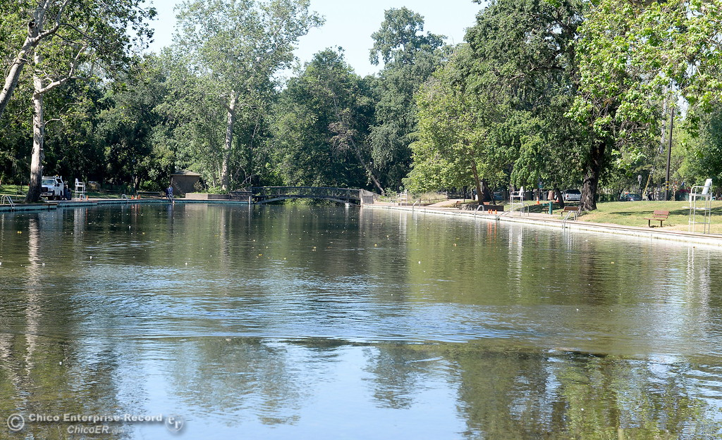 . Sycamore Pool at the One Mile Recreation Area in Bidwell Park will delay their opening this year due to high water. Signs are on display warning swimmers to swim at their own risk when no lifeguard is on duty and also to note that debris piled up on the bottom of the pool makes the deep end much shallower so no diving is permitted Tues. May 23, 2017. (Bill Husa -- Enterprise-Record)