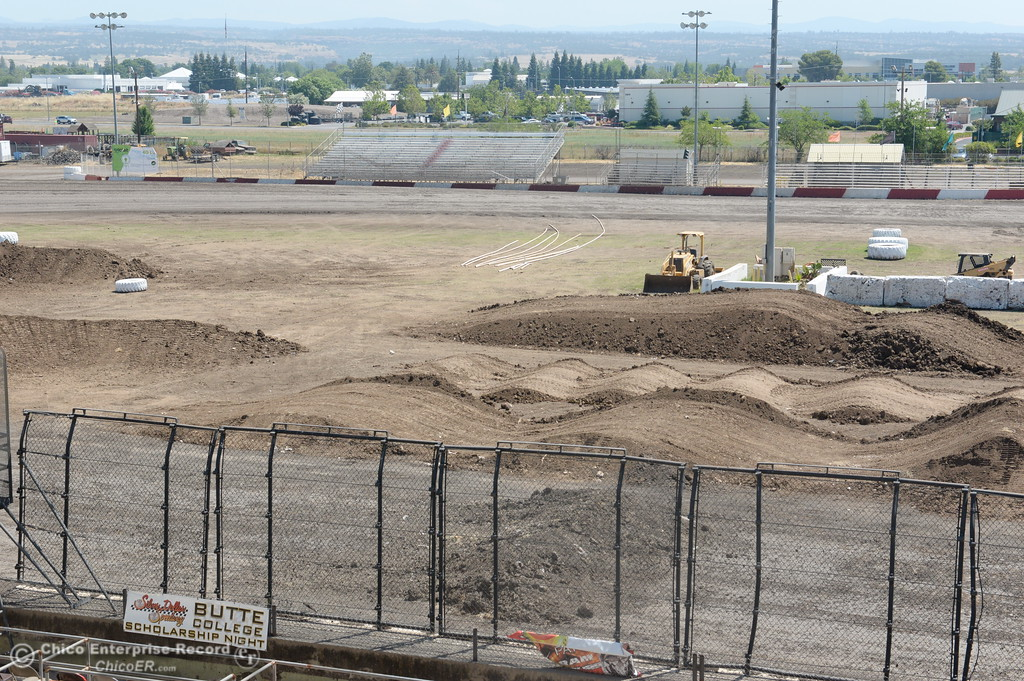. A motocross track is ready for racing in the center of the speedway as activity continues in preparation of the Silver Dollar Fair Tues. May 23, 2017. (Bill Husa -- Enterprise-Record)