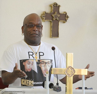 An emotional David Phillips Sr. pleads for justice for his son Desmond Phillips as approx. 25 people attend a press conference to discuss the facts of the Desmond Phillips case at the Bethel AMA Church in Chico, Calif. Mon. May 22, 2017. (Bill Husa -- Enterprise-Record)