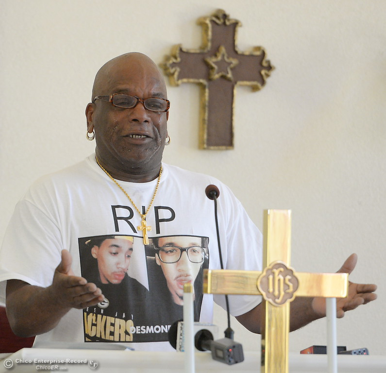 . An emotional David Phillips Sr. pleads for justice for his son Desmond Phillips as approx. 25 people attend a press conference to discuss the facts of the Desmond Phillips case at the Bethel AMA Church in Chico, Calif. Mon. May 22, 2017. (Bill Husa -- Enterprise-Record)