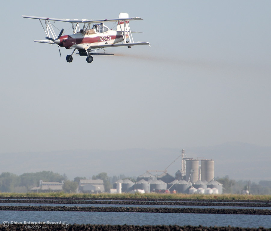 . Pilot C.J. Garrity plants rice from the air at Gorrill Ranch in Durham, Calif. Tues. May 23, 2017. (Bill Husa -- Enterprise-Record)