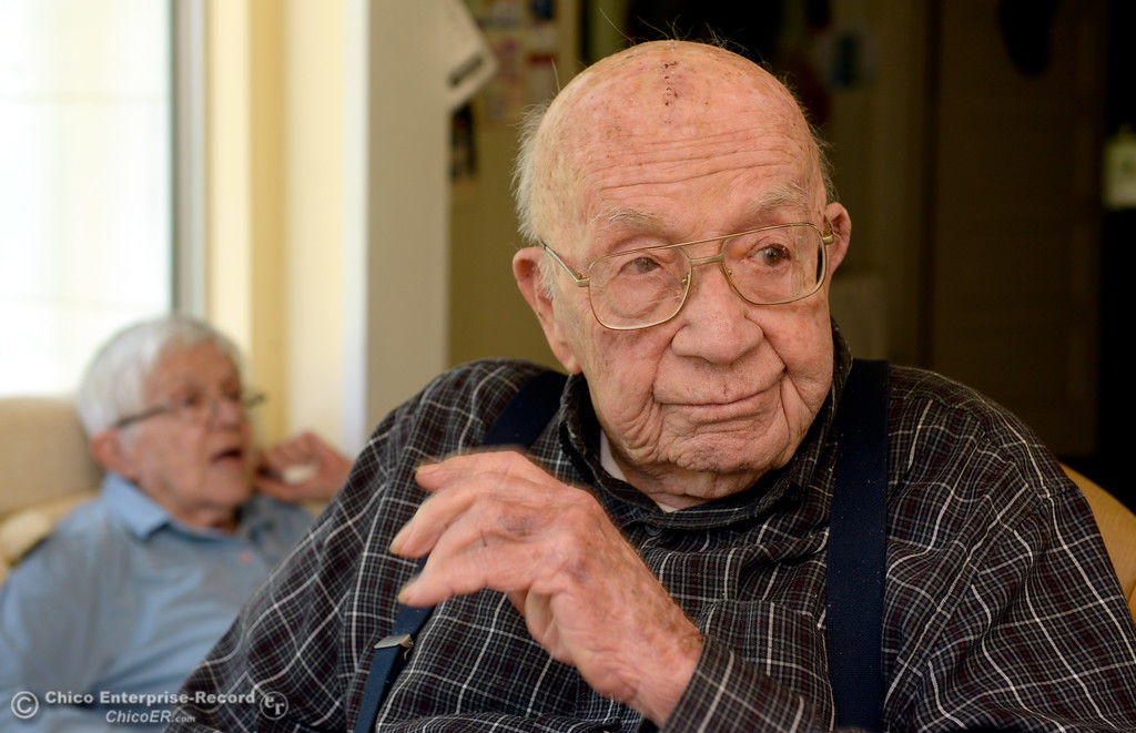 . Bob Campbell, 99, was a Navy pilot during World War II and participated in the Battle of Midway Island. This is the 75th anniversary of the battle. Here, Campbell and his wife Elizabeth talk about his experiences during an interview at his Durham,  Calif.  home Thurs. May 25, 2017. (Bill Husa -- Enterprise-Record)