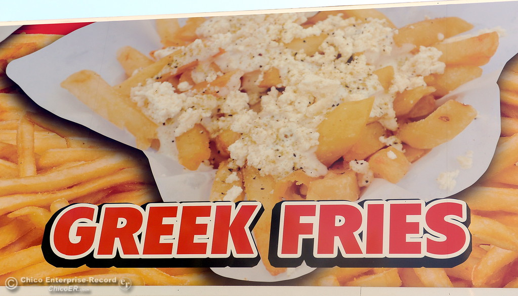 . A new food booth serving Greek Fries has arrived at the Silver Dollar Fairgrounds in Chico, Calif. Mon. May 22, 2017. (Bill Husa -- Enterprise-Record)