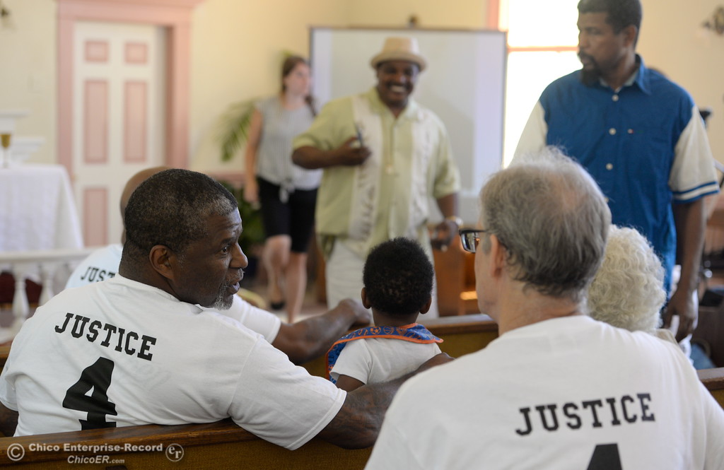 ". Several people wear ""Justice 4 Desmond\"" shirts as approx. 25 people attended a press conference to discuss the facts of the Desmond Phillips case at the Bethel AMA Church in Chico, Calif. Mon. May 22, 2017. (Bill Husa -- Enterprise-Record)"
