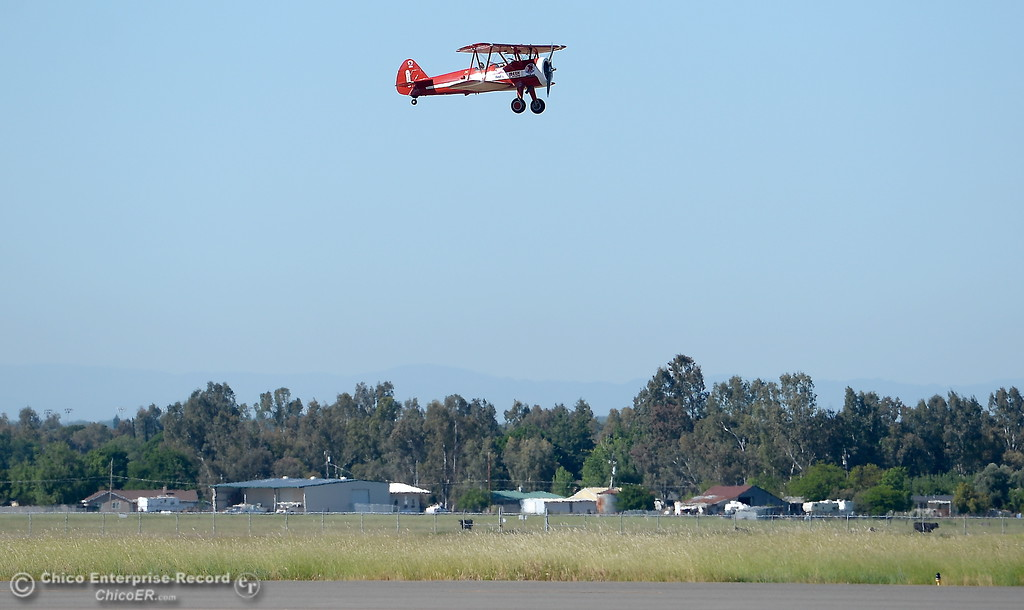 . 95-year-old Keith Rucker of Paradise takes a flight in a Boeing Stearman with Pilot Chris Culp for an Ageless Aviation flight at the Chico Airport in Chico, Calif. Tuesday May, 1, 2018.   (Bill Husa -- Enterprise-Record)