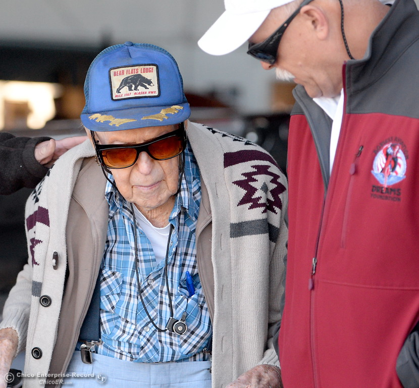 . Ageless Aviation Pilot Chris Culp at right talks with 95-year-old Keith Rucker of Paradise before taking him on a flight in a Boeing Stearman for a flight Tuesday May, 1, 2018.   (Bill Husa -- Enterprise-Record)