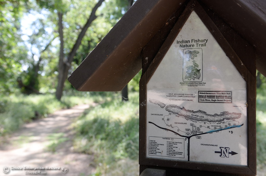 . A sign is posted along the Indian Fishery Nature Trail in Chico, Calif. Friday May 4, 2018. (Bill Husa -- Enterprise-Record)