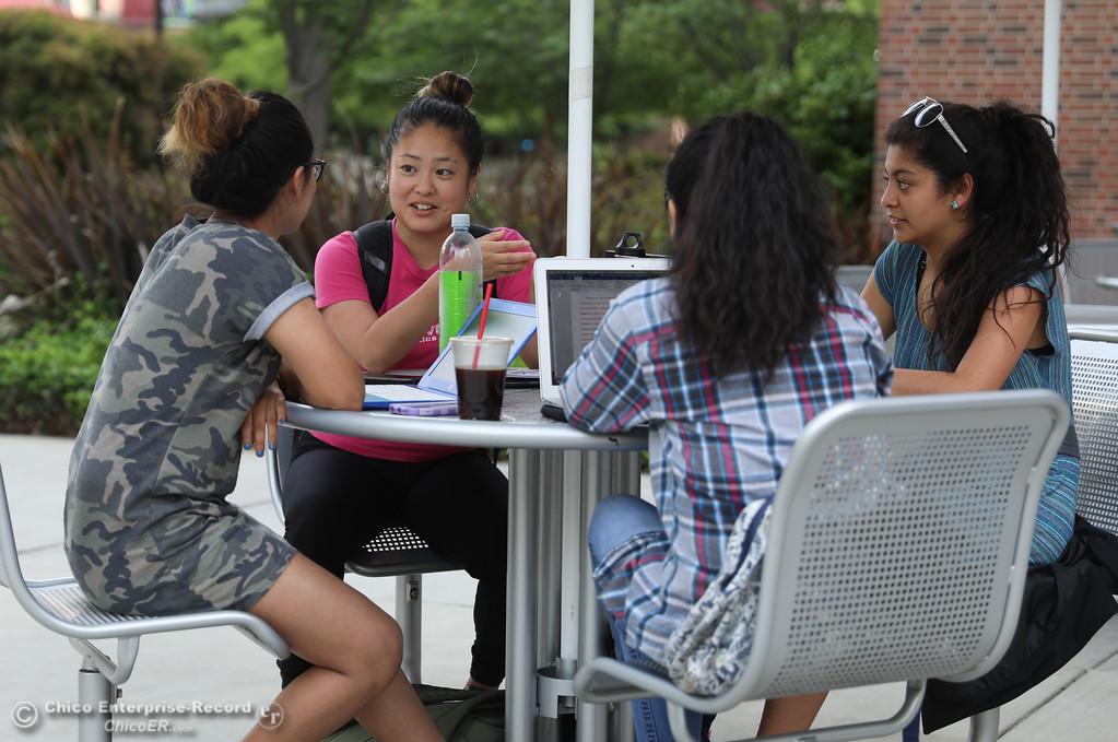 . Isabel Albino, Mai Kurihara, Lorena Velazquez and Berenice Maldonado study at Chico State University, May3, 2018,  in Chico, California. (Carin Dorghalli -- Enterprise-Record)