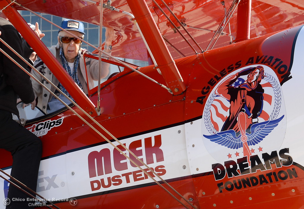 . Crew Chief Irvin Minten, left and Pilot Chris Culp help 95-year-old Keith Rucker of Paradise into a Boeing Stearman for a flight Tuesday May, 1, 2018.   (Bill Husa -- Enterprise-Record)