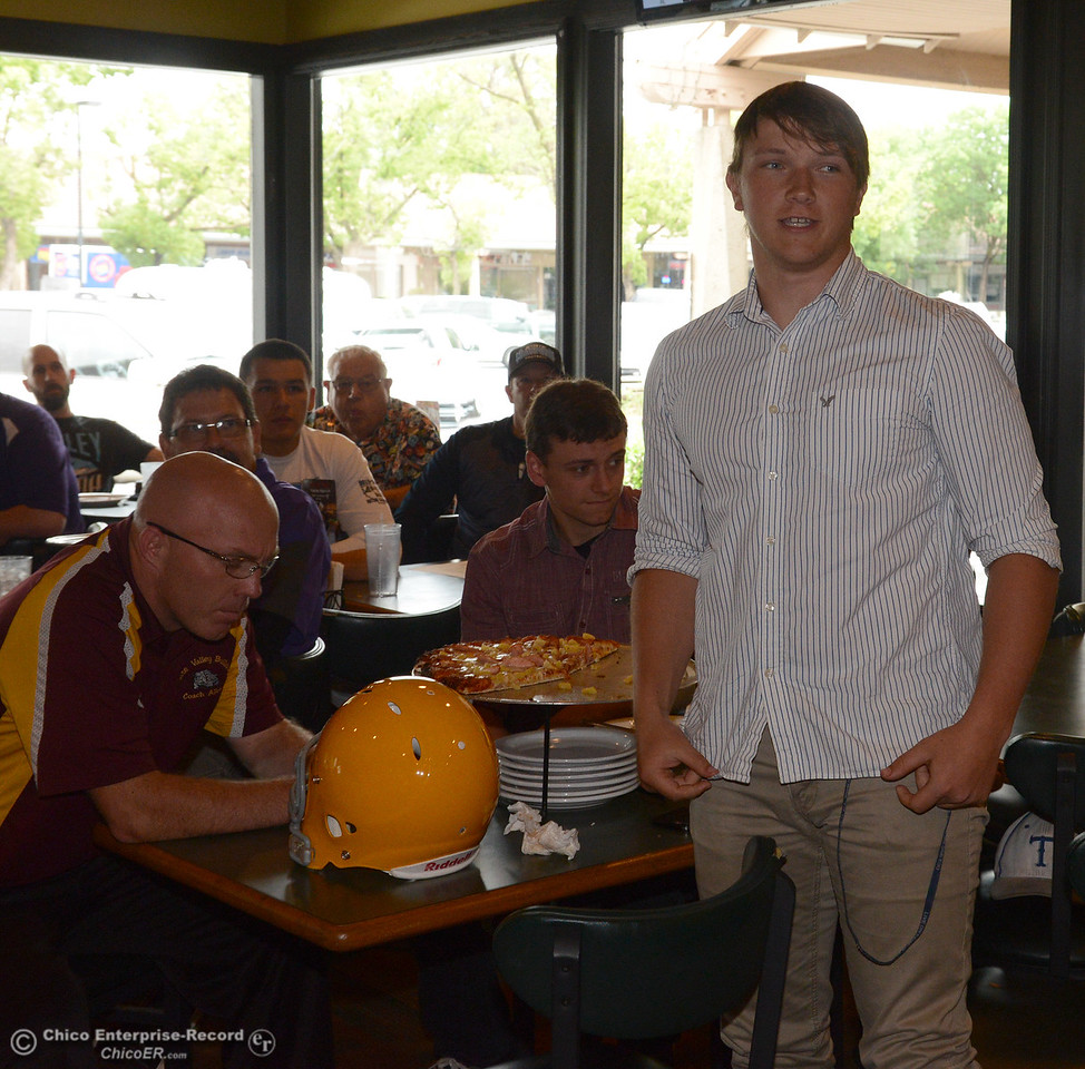 Tulelake lineman Dustin Wood stands to introduc ehimself as players and coaches meet Thursday, June 8, 2017, for the Lions All-Star football game kickoff luncheon at Round Table Pizza on Pillsbury Road in Chico, California. Wood was on the line on both sides of the ball. (Dan Reidel -- Enterprise-Record)