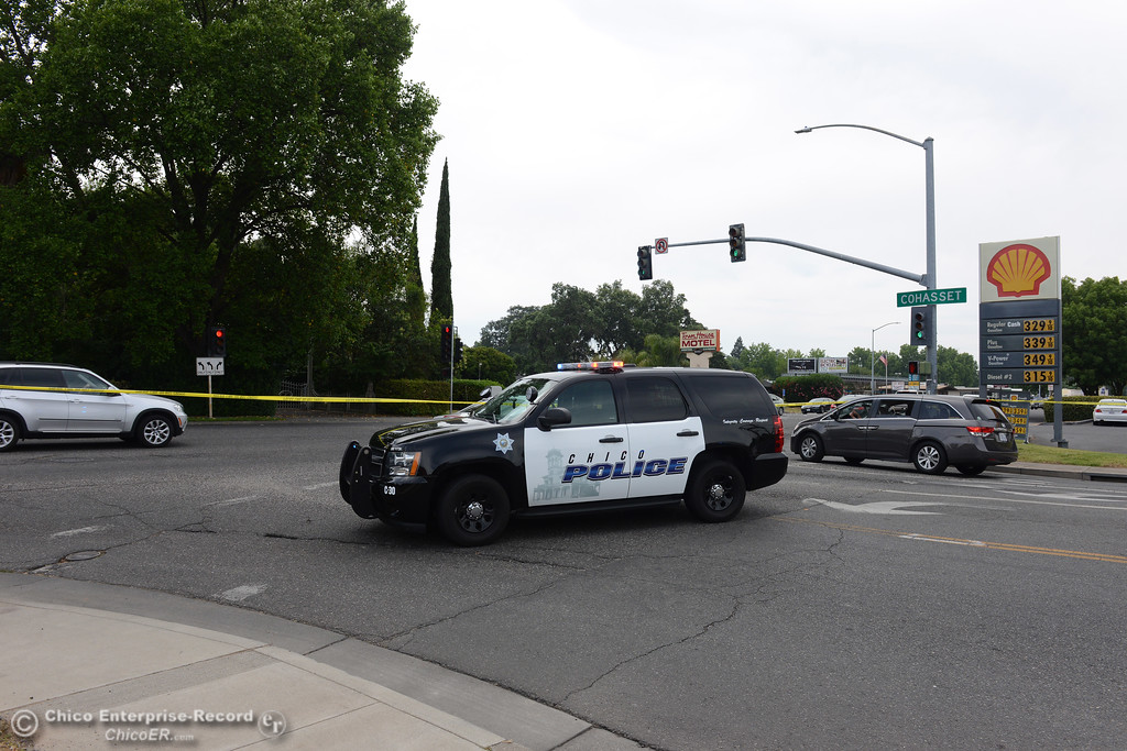 . A Chico Police Department SUV blocks traffic onto Cohasset Road from The Esplanade as officers investigate a shooting Wednesday, June 7, 2017, that began at Cohasset and the Esplanade and involved chases in several directions in Chico, California. (Dan Reidel -- Enterprise-Record)