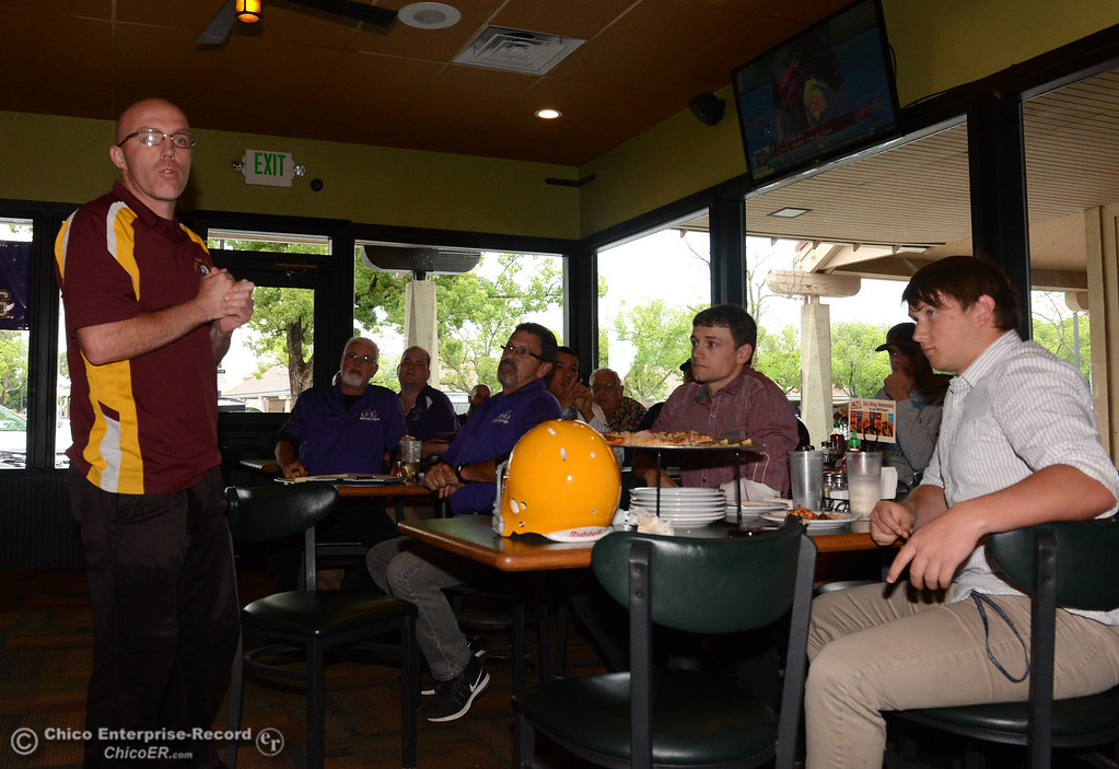 . Jason Allen, the Butte Valley coach selected to head the 8-man North team, speaks briefly as players and coaches meet Thursday, June 8, 2017, for the Lions All-Star football game kickoff luncheon at Round Table Pizza on Pillsbury Road in Chico, California. (Dan Reidel -- Enterprise-Record)